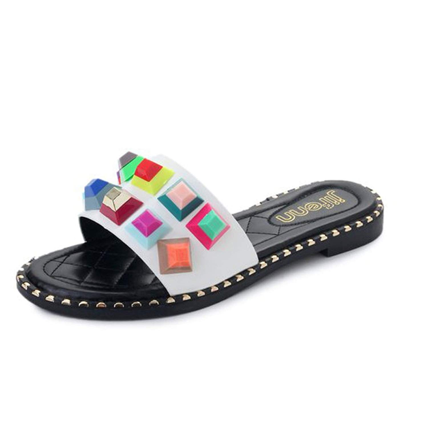 a52015b5ea09 Get Quotations · Mohsin Women Slide Sandals Colorful Stud Beach Slide  Sandals Leather Slide Sandals