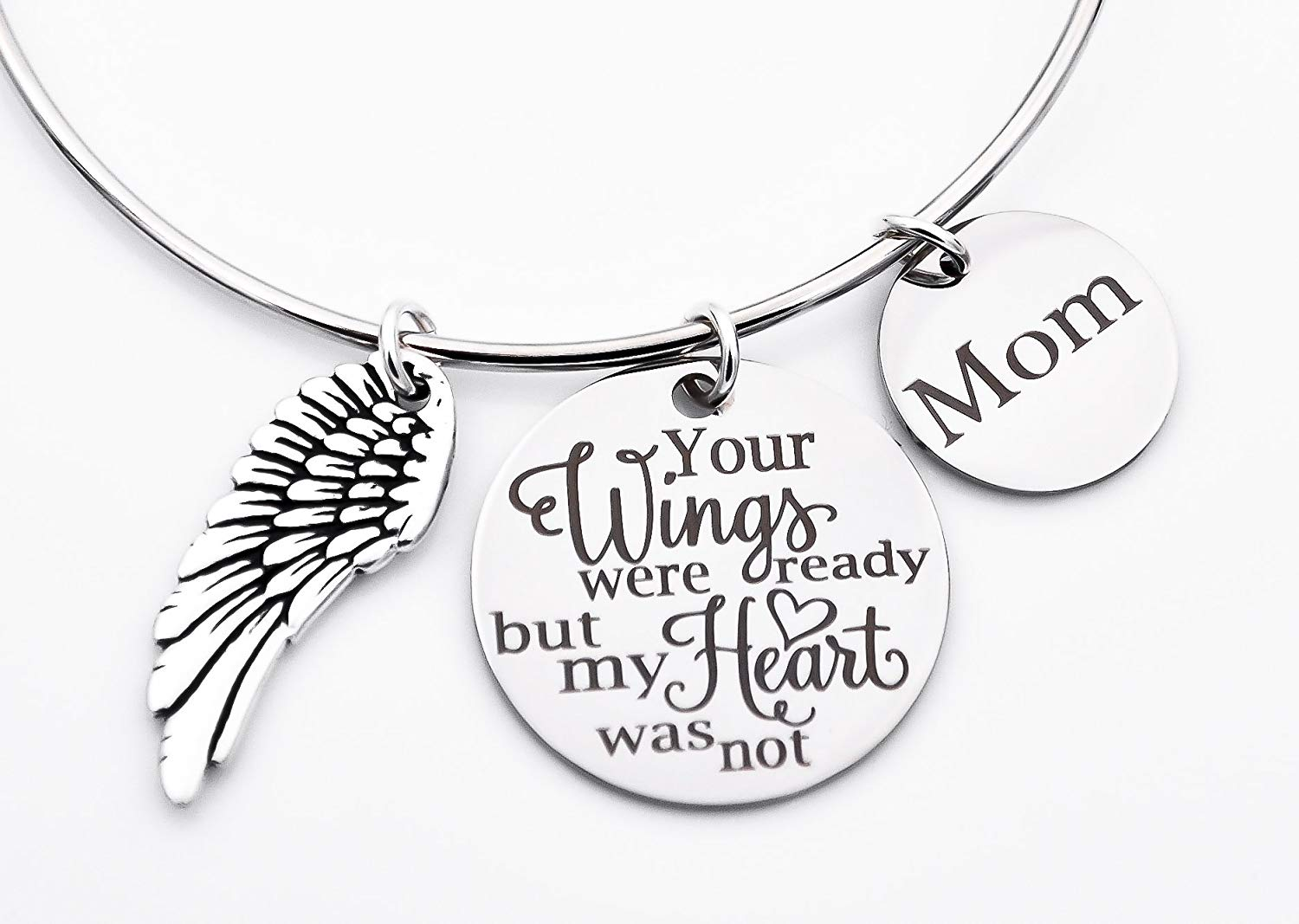 Memorial jewelry, your wings were ready but my heart was not, bangle bracelet, stainless steel bangle, loss of loved one, sympathy gift, mom, dad, name, adjustable bangle bracelet, feather birds