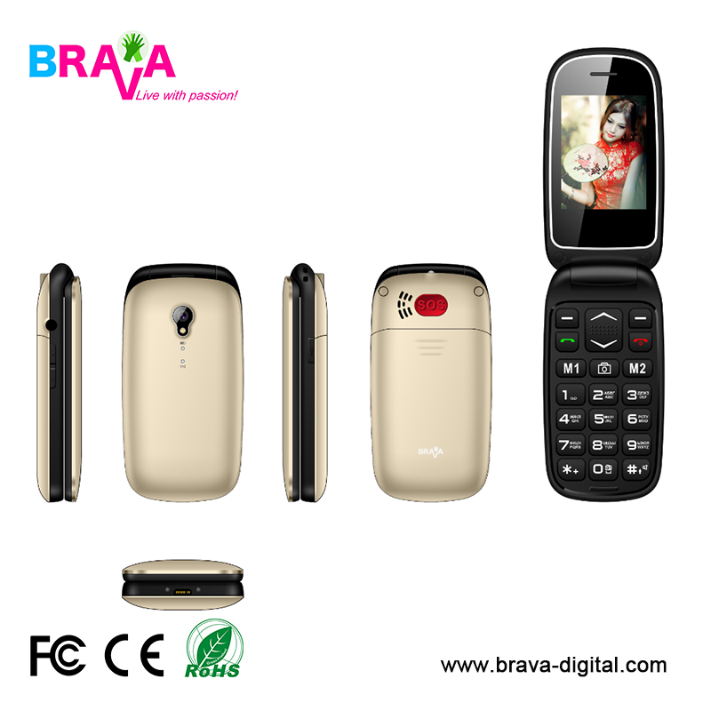"OEM 2G/3G senior flip phone 2.4"" SOS with Dual SIM card"
