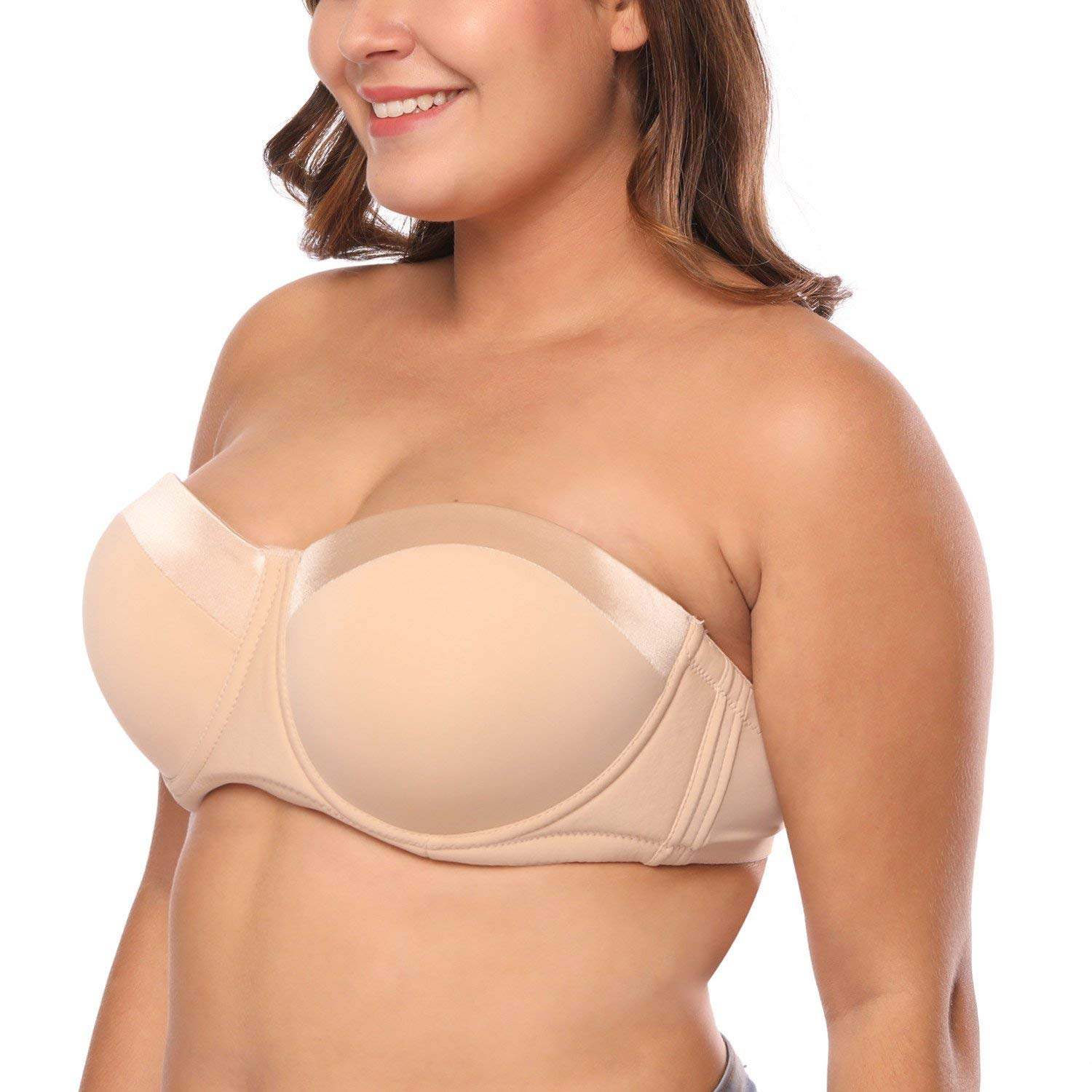 27a227b428e Get Quotations · Big Size Strapless Bra 32-46 B C D DD F