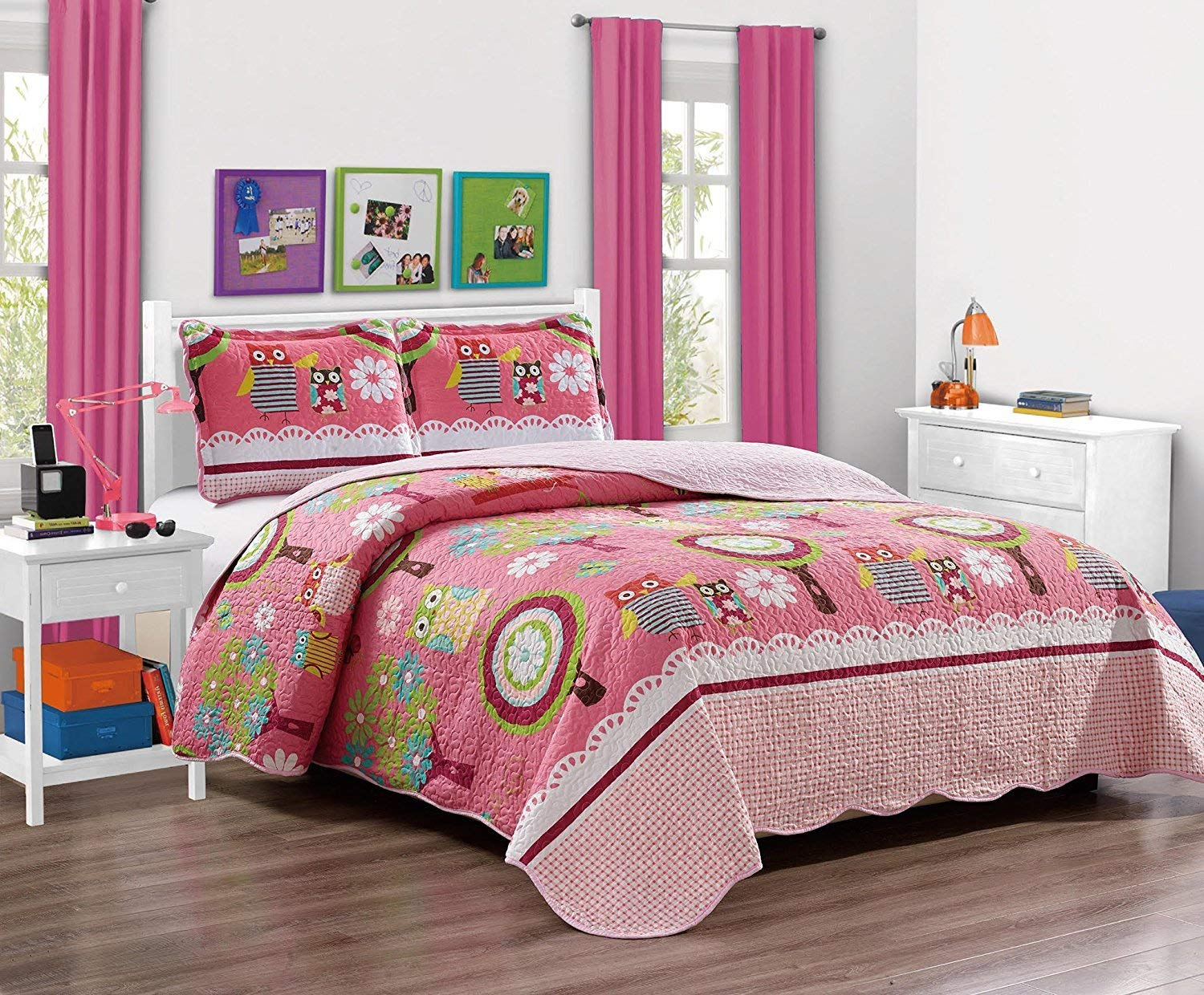 Fancy Collection 2pc Twin Size Quilted Bedspread Set Owls Flowers Pink Beige Green Blue White New #Owl Pink