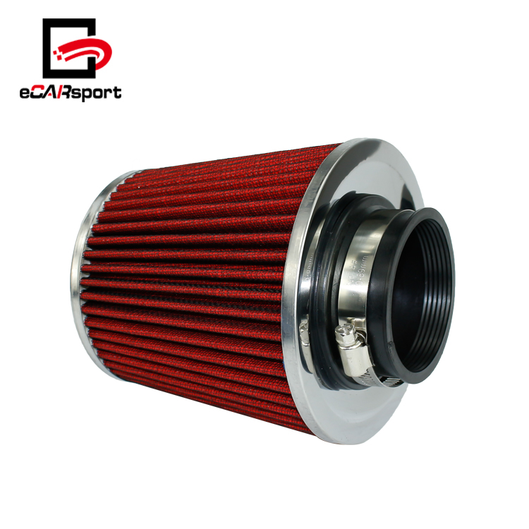 "RED 2005 UNIVERSAL 89mm 3.5/"" INCHES CHROME HEATSHIELD AIR INTAKE FILTER"