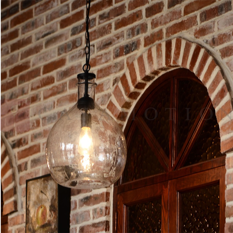 Casamotion large factory clear globe glass pendant light for Dining room globe lighting