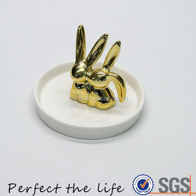 Ceramic Double rabbit Animal Jewelry tray with White Plate holder