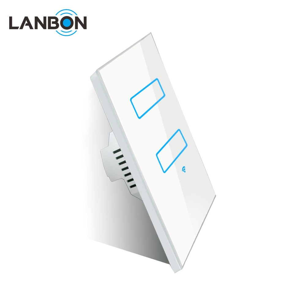 Lanbon OEM 2 gang 1 way switch rectangle size smart wifi light switch compatible with google home