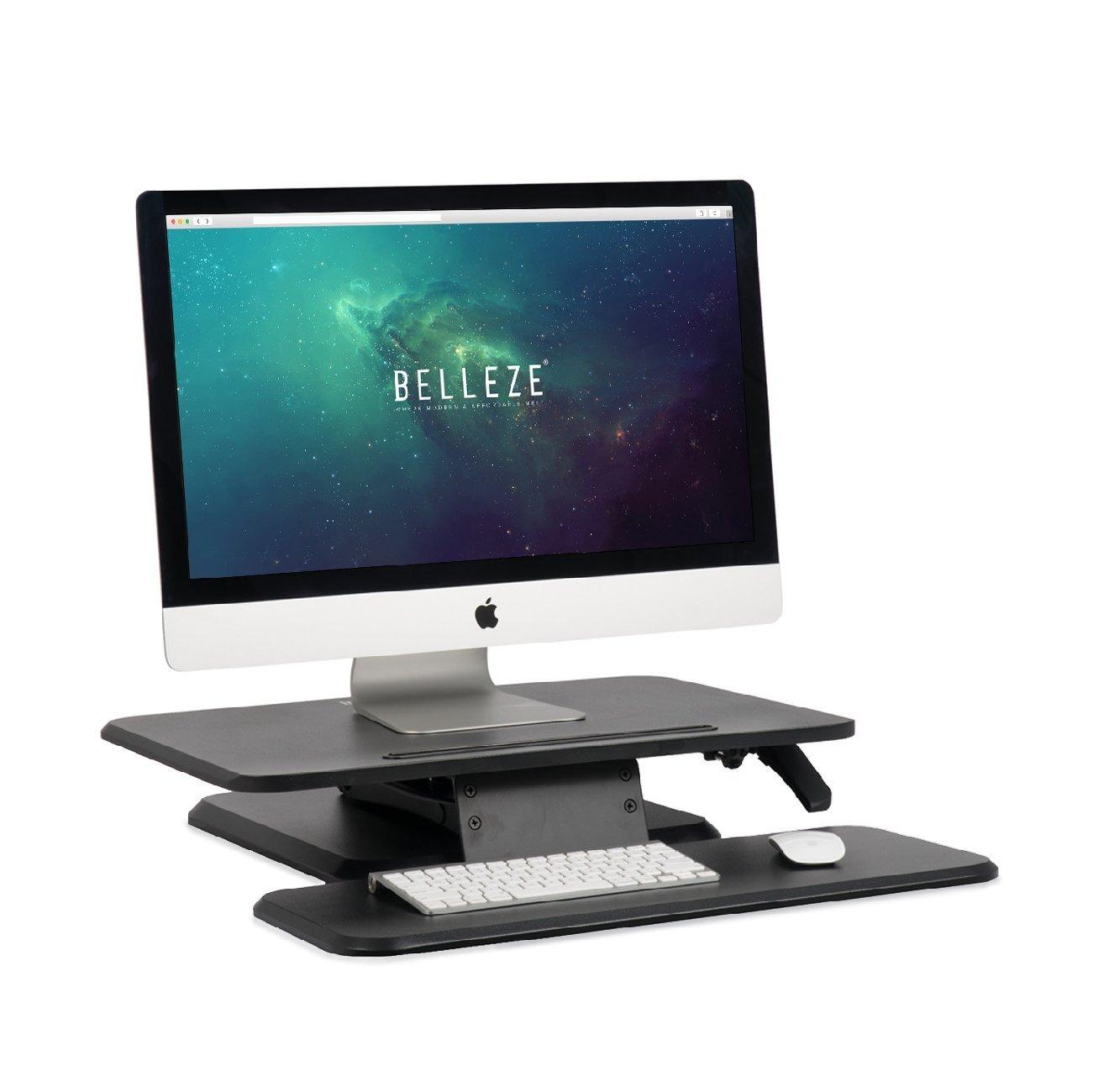 BELLEZE | Stand Up Desk | Computer Riser Table | | Adjustable Height Desk Converter | Keyboard Tray | Home | Office | Dorm | 25 Inch | Black