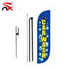 Custom Hand Poles and Ground Spike Car Wash Feather Flag Complete Set