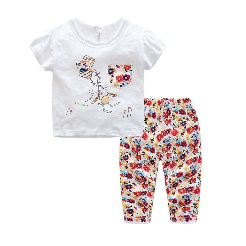 Moyikiss Studio Baby Girls 2pcs Outfit Organic Cotton Short Sleeved Cartoon T-Shirt Tops With Pocket + Printed Trousers Set