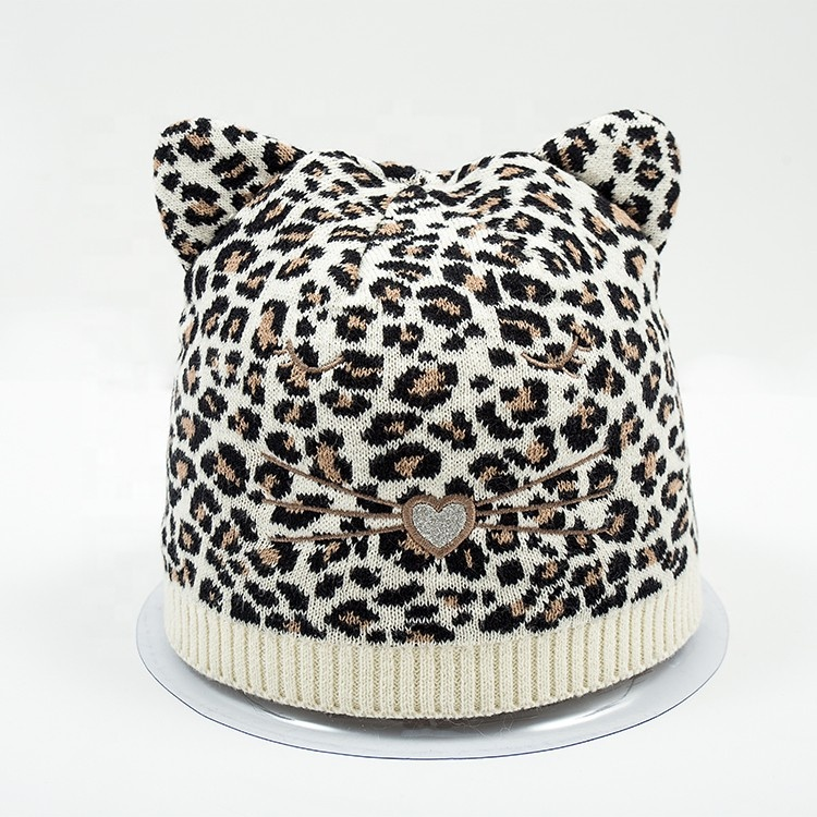 High quality Soft knitted Winter jacquard animal Hat Leopard Beanie