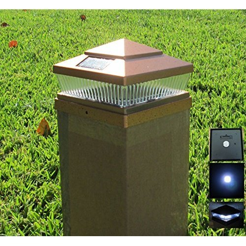 2 Pack Garden Sunlight Plastic Copper 6x6 Outdoor 5 LED 78lumens Solar Light Post Cap Light