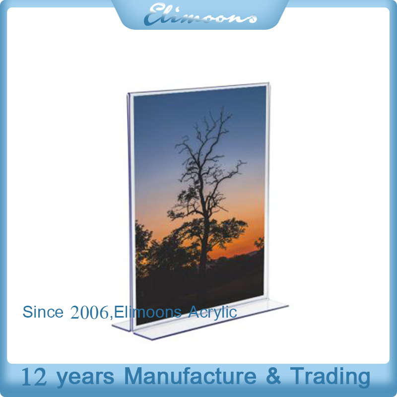 Custom Clear Counter Vertical Back Acrylic Side-Insert Vertical Card Holder Plastic Vertical Sign Holder