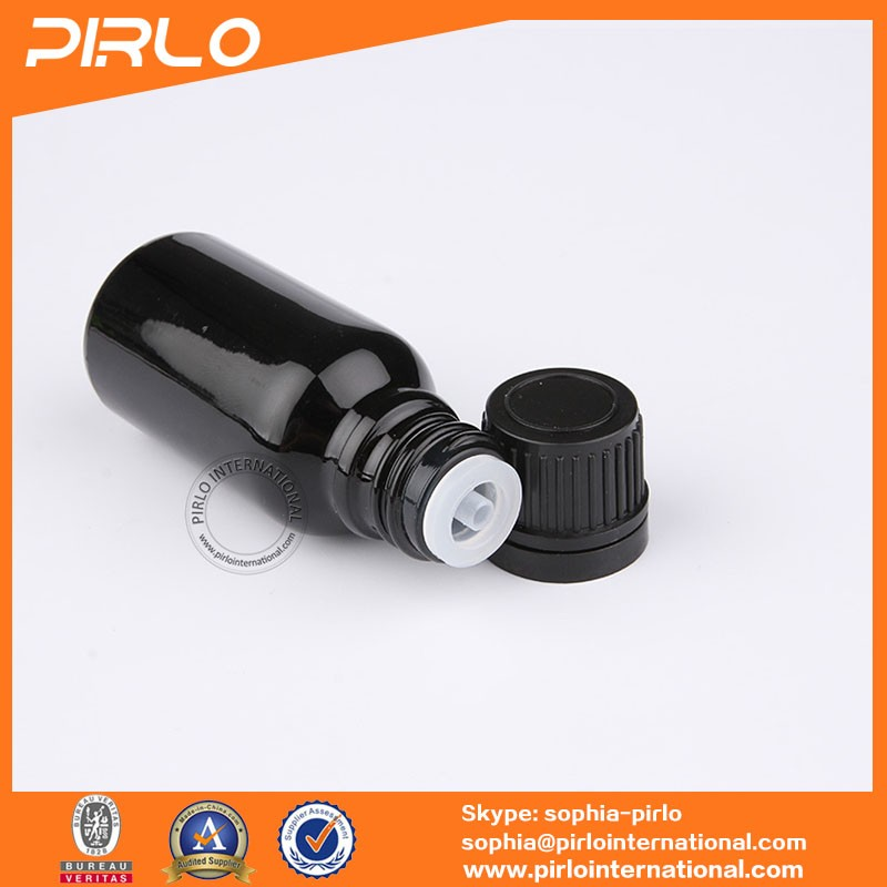 5ml 10ml 15ml 20ml 30ml 50ml 100ml lightproof black glass essential oil bottle with black plastic tamper proof cap