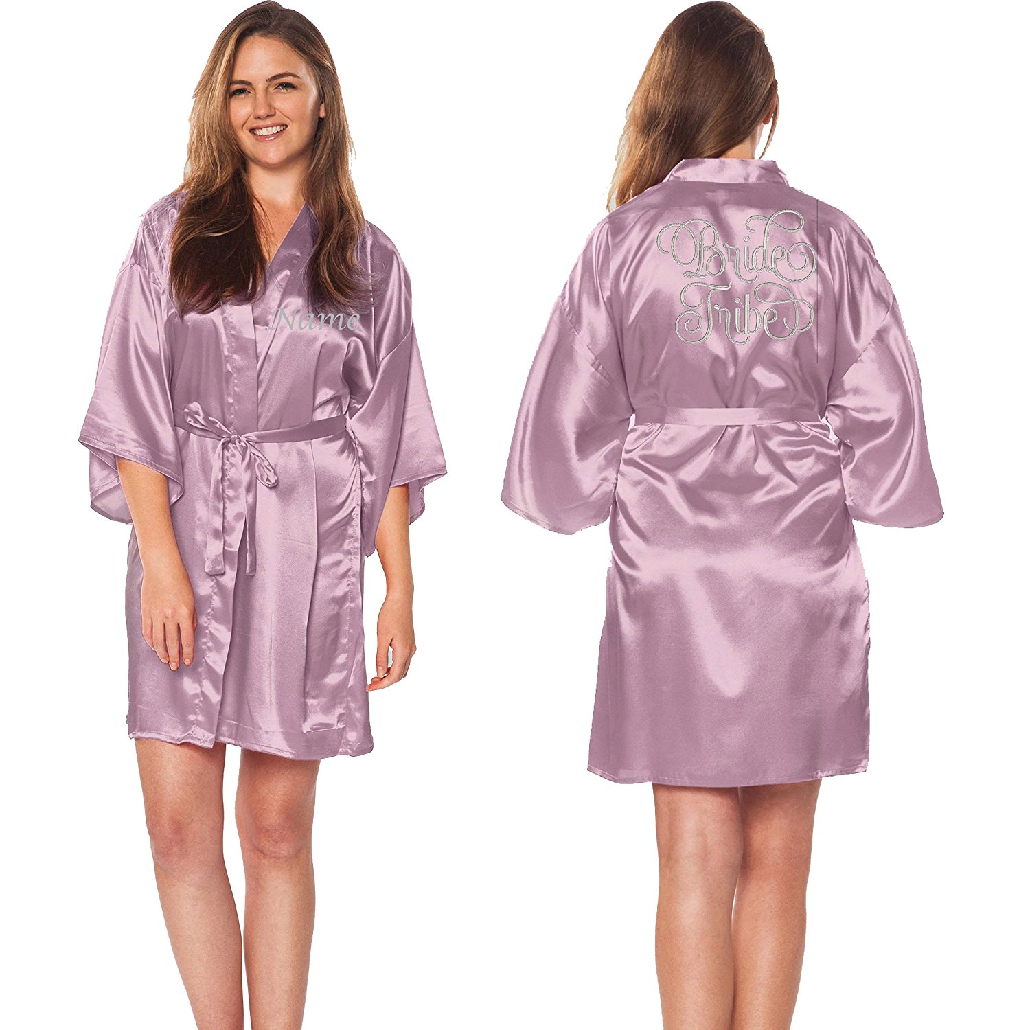 Custom Apparel R Us Bride Tribe Silver Embroidered Customize Name Satin Robes Wedding Party