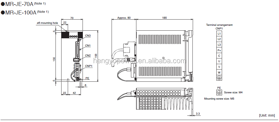 Mitsubishi 750w Ac Servo Amplifiers Servo Driver Mr-je-70a