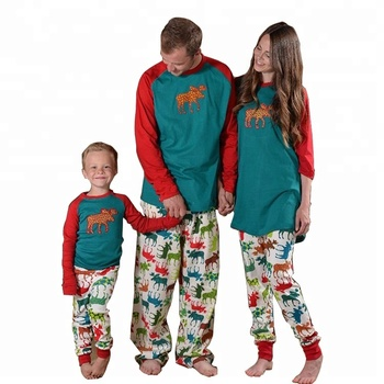 fdae6e08801c Christmas Family Pajamas Set Adult And Kids Clothes Moose Sleepwear Pajamas