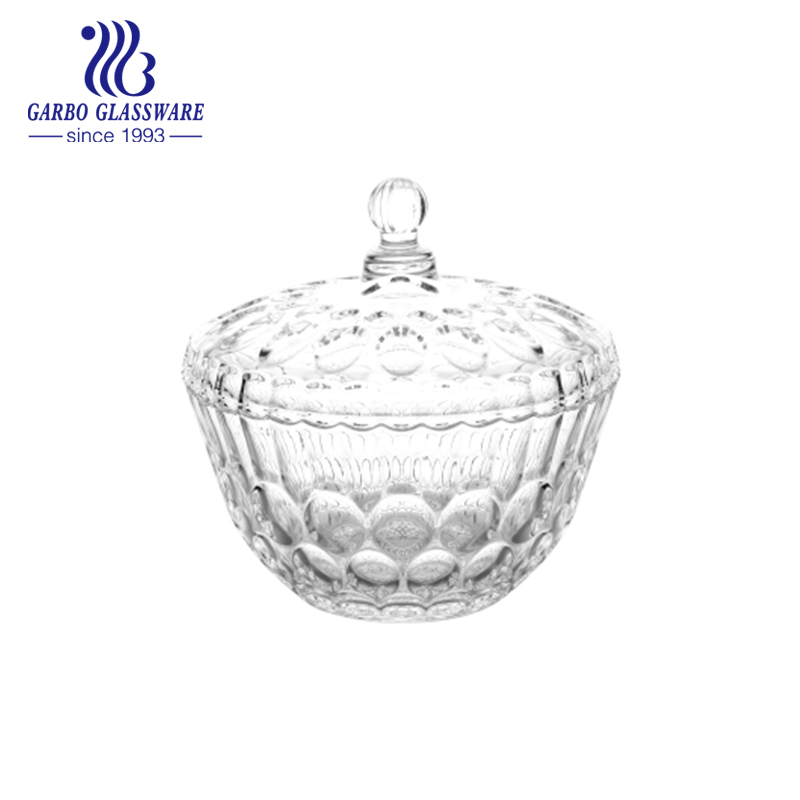 decorative dot engraved clear crystal candy jar machine pressed