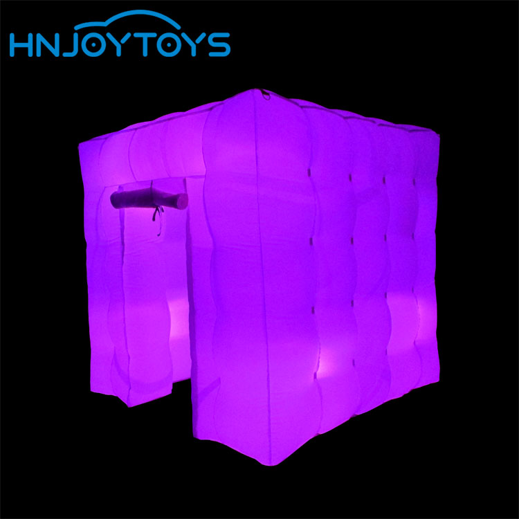 colorful light inflatable cube tent photo booth for event