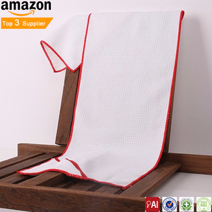 Wholesale Cool Cotton Waffle White Sport Gym Towel With Zip Pocket Custom Logo