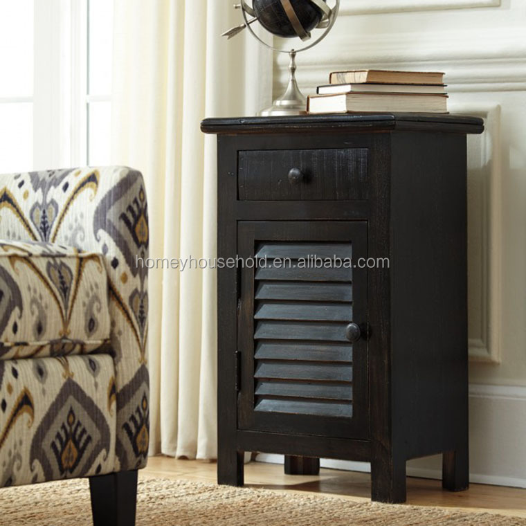 American style wood mdf black living room accent drawer cabinet with door