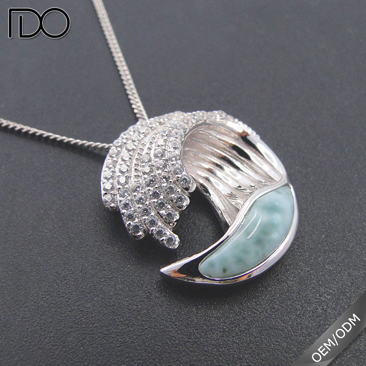925 Sterling Silver Sealife Wave Larimar Pendant Necklace