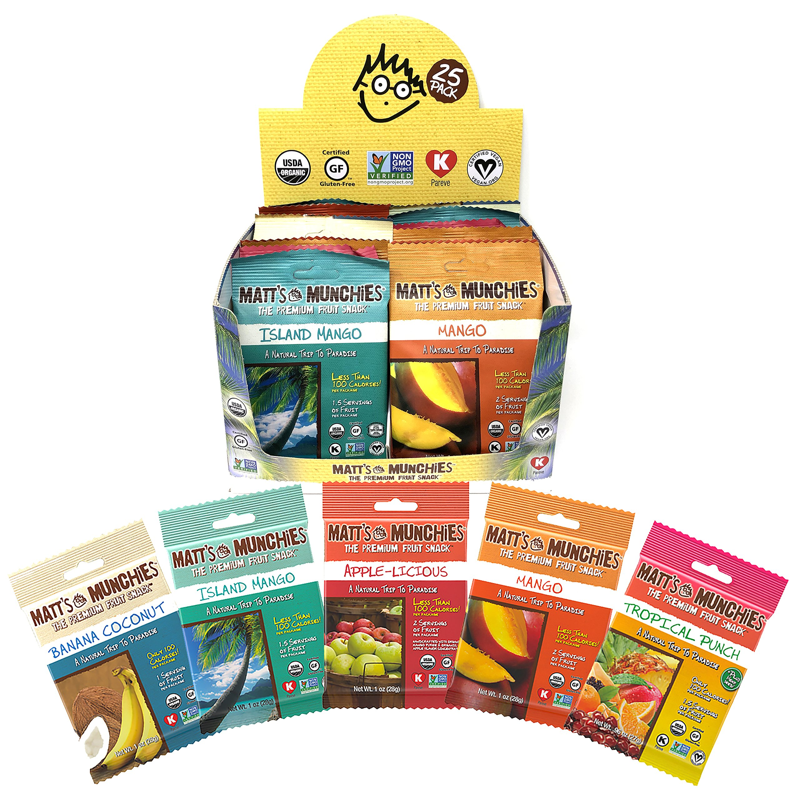 Matt's Munchies Tropical Assortment Organic Non-GMO Peelable Fruit Snacks 25 Count Variety Pack Caddy – Mango, Island Mango, Tropical Punch, Banana Coconut & Apple