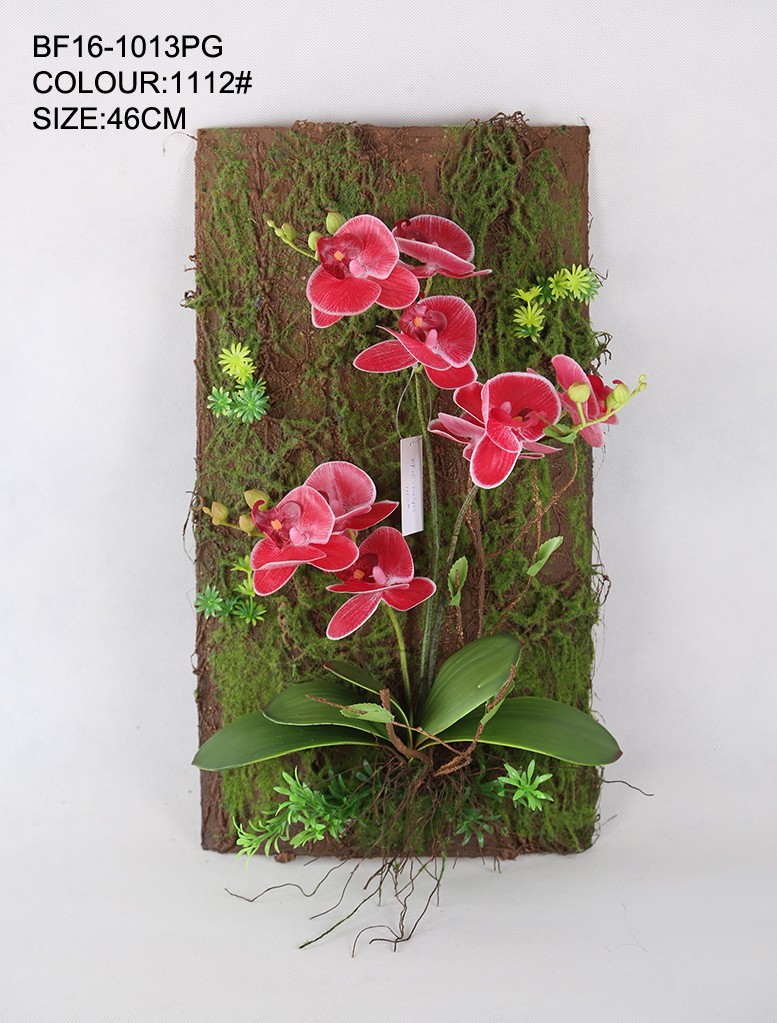 Real Touch Artificial Orchid Flower Wall Hanging; Artificial Flower Mural Decor