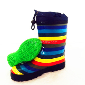 Colourful Boys Rubber rainboots unisex kids stripe hunting boots