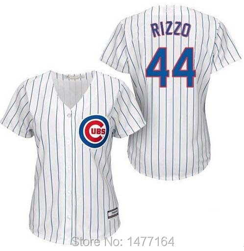 Get Quotations · Womens Chicago Cubs Jersey  44 Anthony Rizzo White Home  100% Stitched Women Baseball Jerseys c2142e299