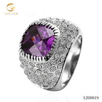 High-grade men italian gemstone rings 925 silver ring with purple stone