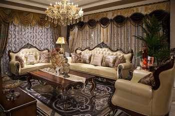 High Quality New Luxury Wood Sofa Sets Classic Design Wood Carving Sofa