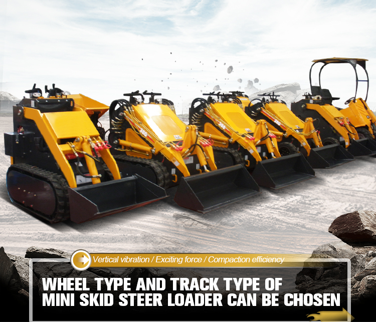 Tracked small digger mini skid steer loader