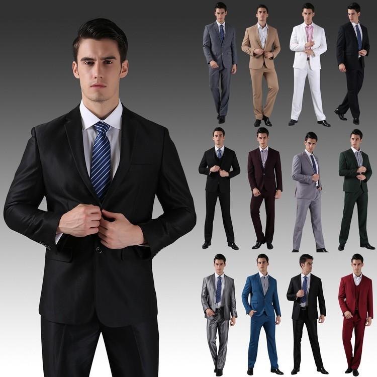 (Kurtki + Spodnie) 2016 Nowych Mężczyzna Garnitury Slim Fit Niestandardowe Garnitury Smokingi Marka Moda Bridegroon Biznes Suknia Ślubna Blazer H0285 5