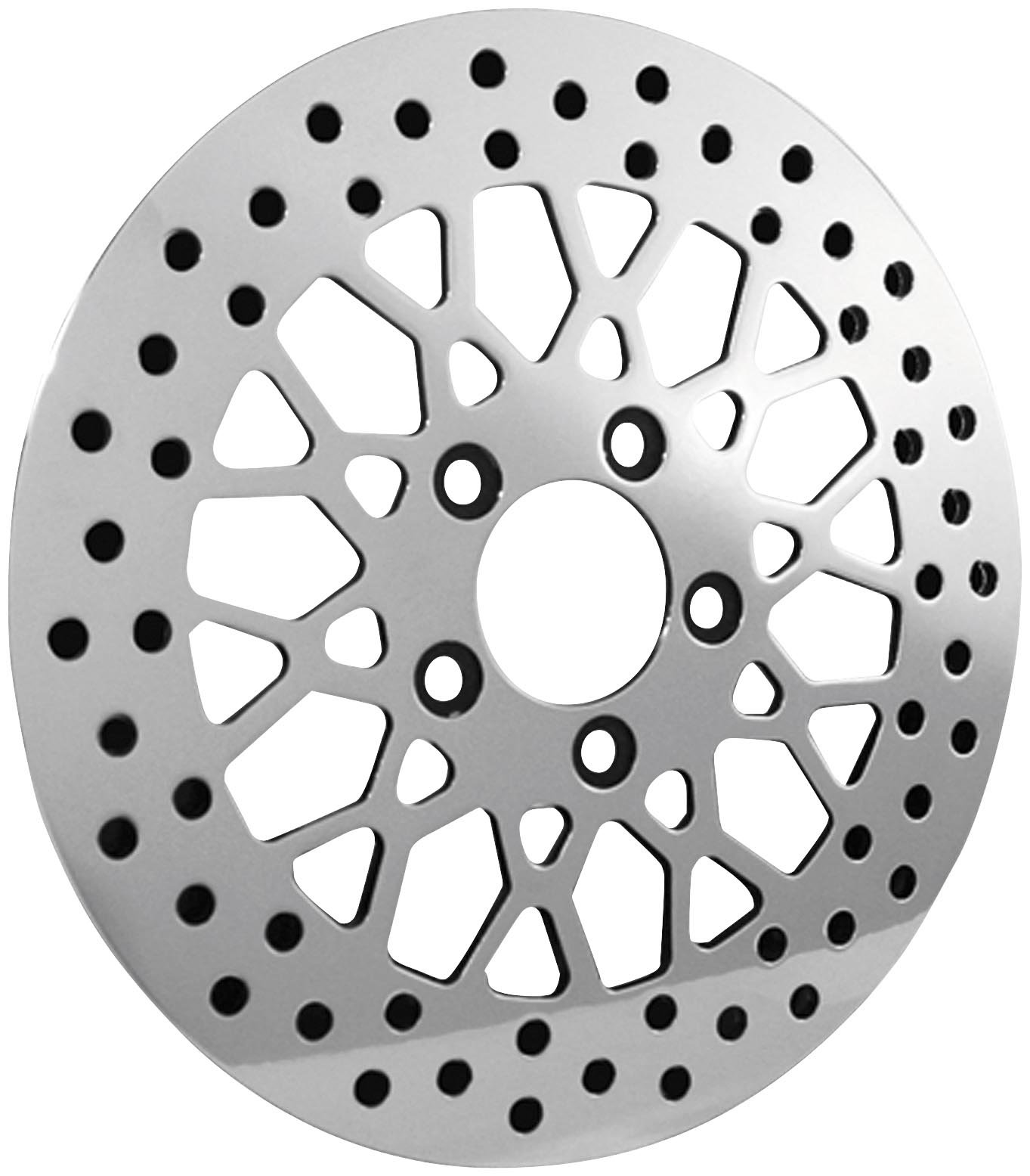 Bikers Choice 11.5 in. Polished Mesh Style Rear Brake Rotor for Harley Davidson - One Size