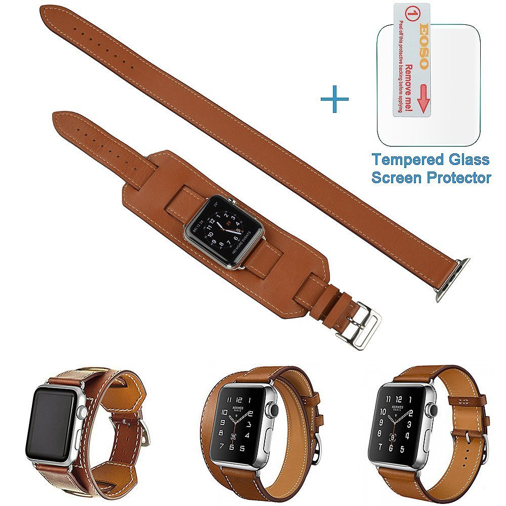 3 in 1 Apple Watch Leather Cuff Band,Eoso [Bracelet/Single/Double] Leather Loop Band for Apple Watch,Sport,Edition Models(Band Cuff Brown,38mm)