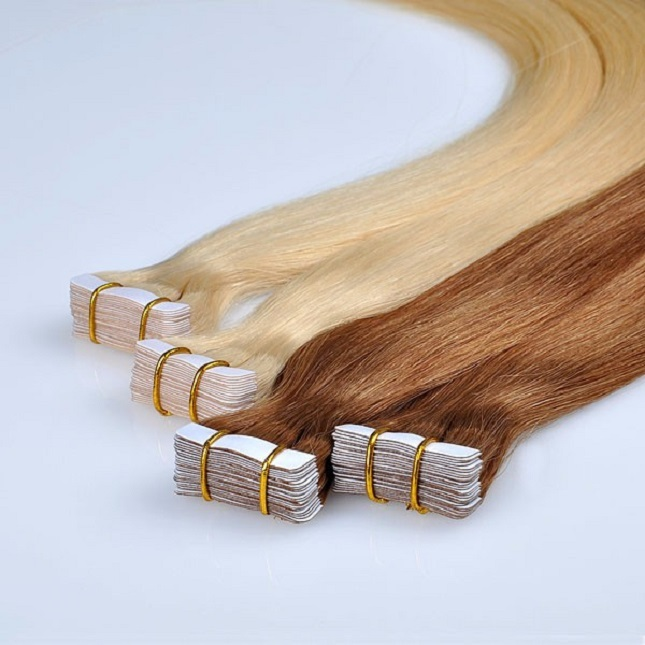 Best 100% virgin remy russian slavic double drawn tape in hair extension