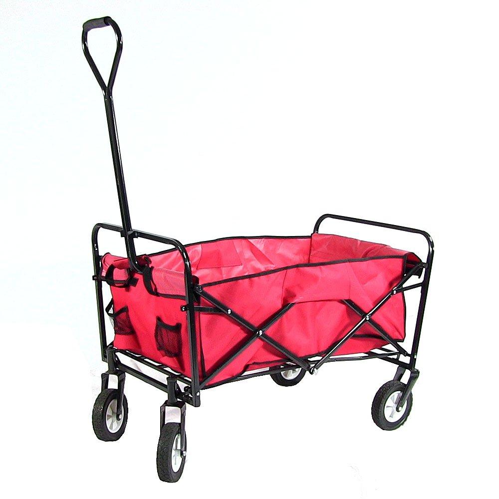 Sunnydaze Red Folding Utility Wagon Garden Cart 33 Inch Long X 21 Inch  Wide, 150