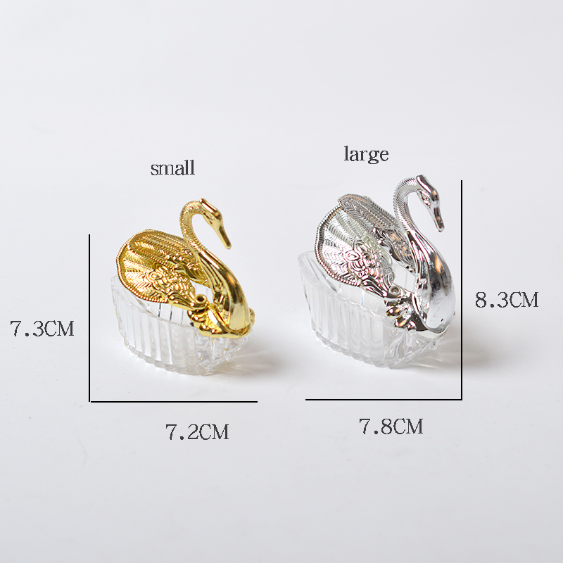 European creative wedding supplies ceremony gift gold and silver swan shaped candy box
