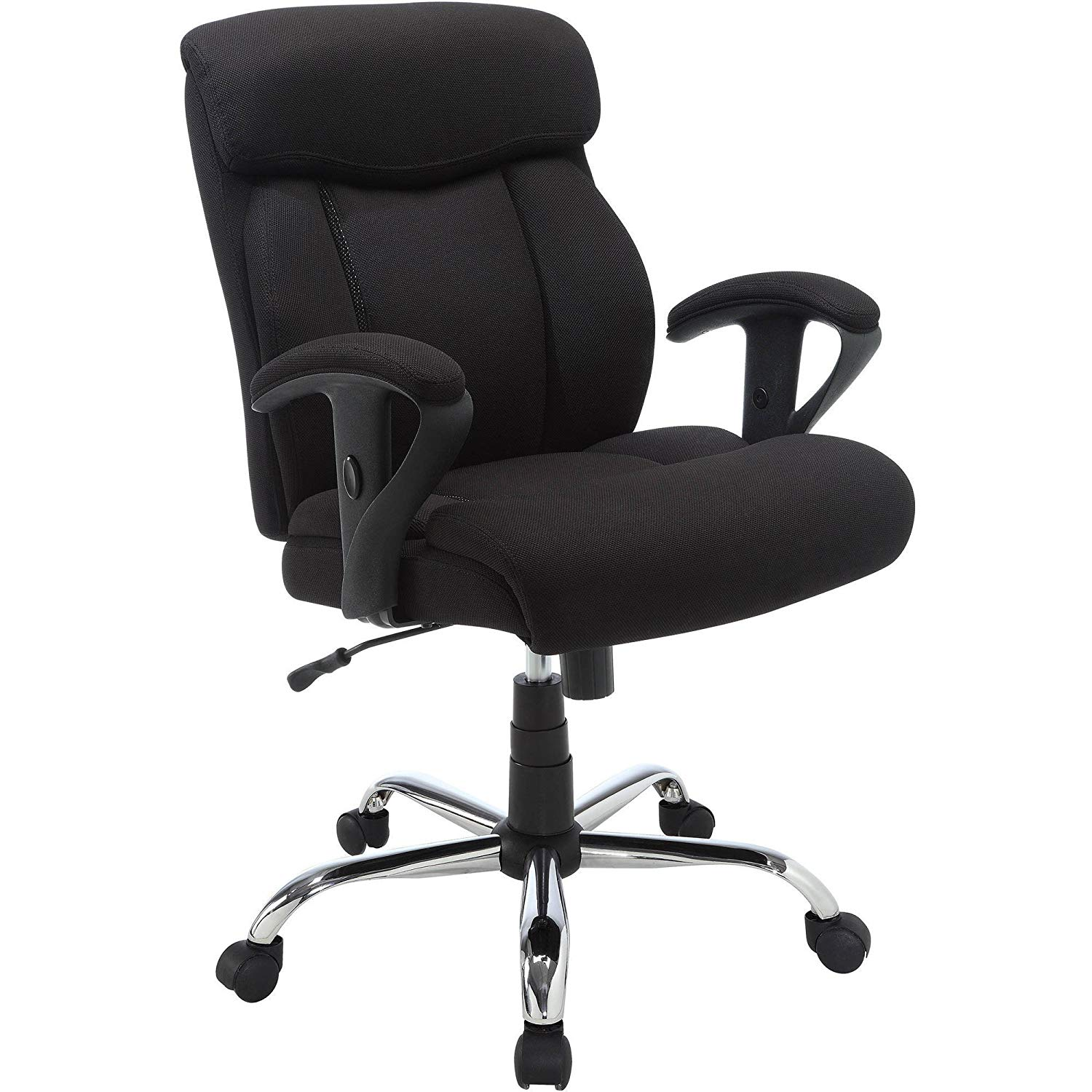 Manager Tall Big Heavy Duty Office Chair Soft Black Breathable Mesh Fabric Upholstery Double Layer Body Pillows Arm and Seat Height Adjustability Smooth Rolling Multi Surface Dual Wheel Casters