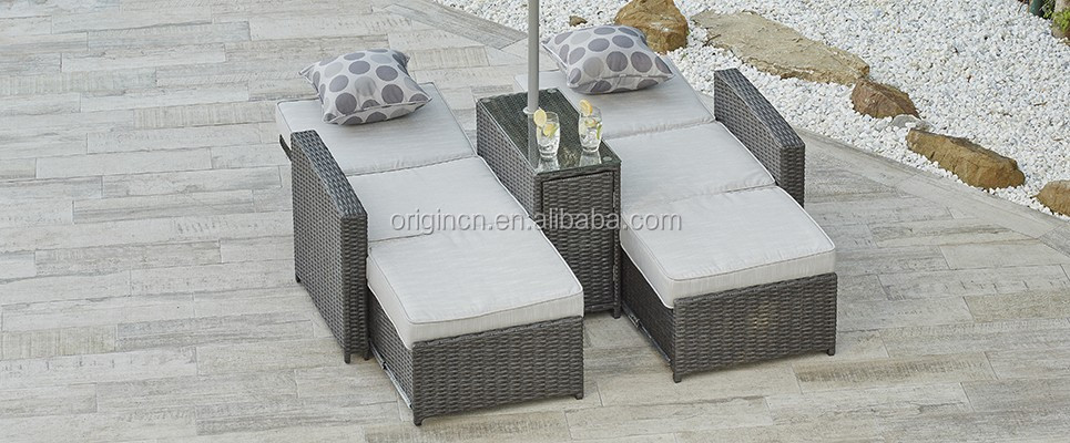 3 Uses Multifunctional Synthetic Rattan Modern Design Garden Lounge Chairs  Sun Lounger