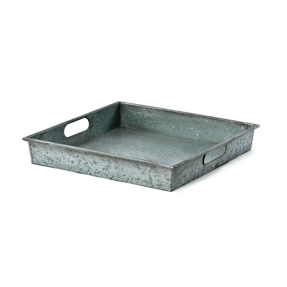 Benzara AMC0012 Square Galvanized Metal Tray with Handle, Gray