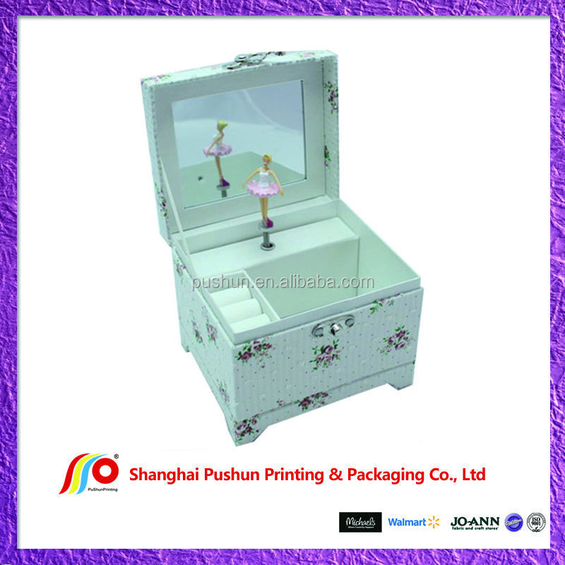 musical paper jewelry box with insert mirror and extra inner layer
