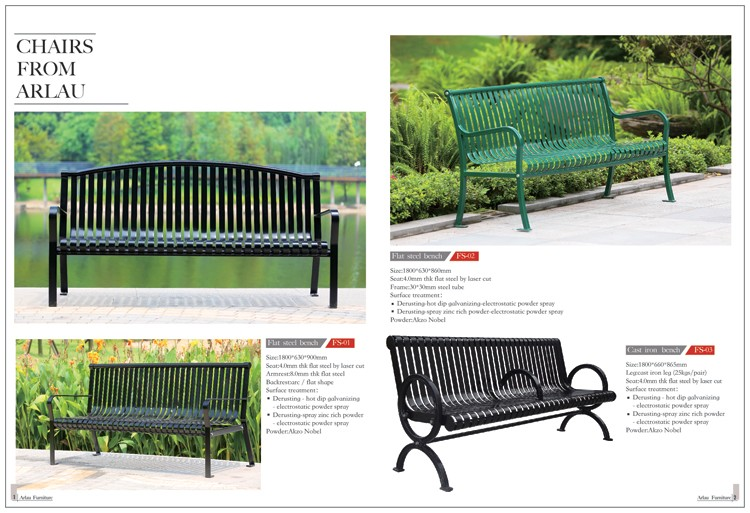 Arlau metal outdoor public seating modern outdoor for Metal benches for outdoors