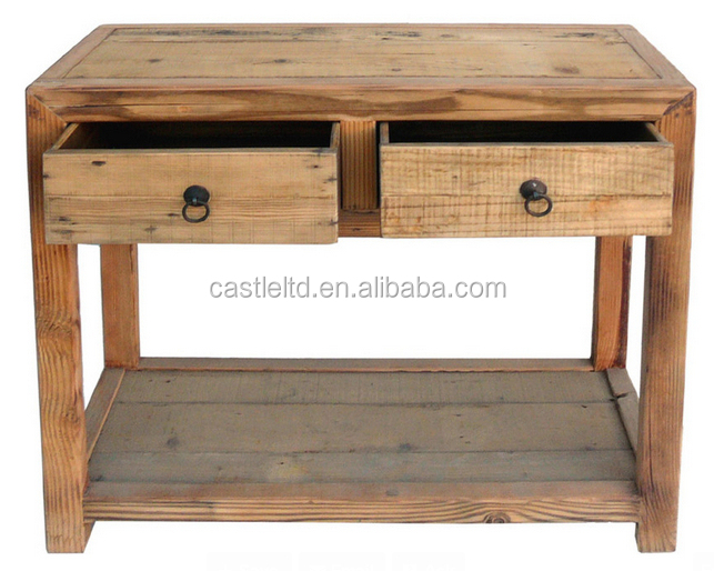 Simple Earthy Raw Wood Tone Side Table Ming Style Wooden Console