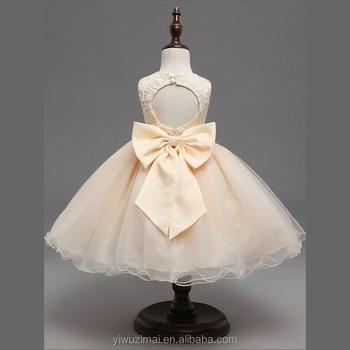 Mode Mädchen Backless Gestickte Bowknot Kleid Kinder Mädchen Lange ...