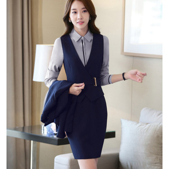 cbc44ffcab79 Latest Women Sexy Formal Business Sleeveless Blazer And Skirt Suit ...