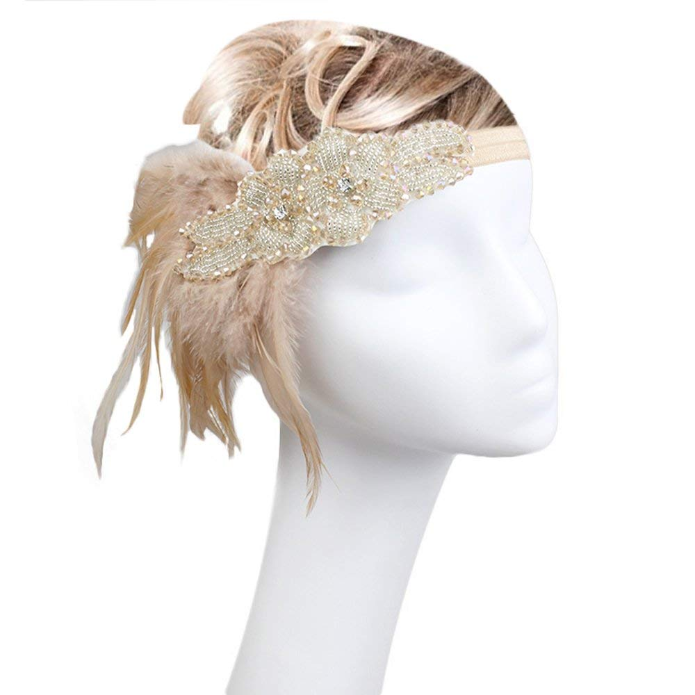 Peacock Feather Fascinator Headband 1920s Vintage Great Gatsby Headpiece i15