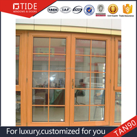 2016 hot selling Aluminum wooden window and door with grille design