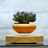 Artificial wooden effect magnetic suspension levitating plant pot