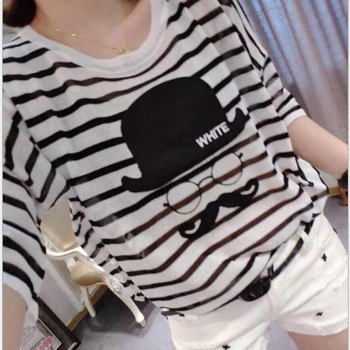 Hot selling new design fancy korean style lady top casual stripe loose girls bat short sleeve cute blouse