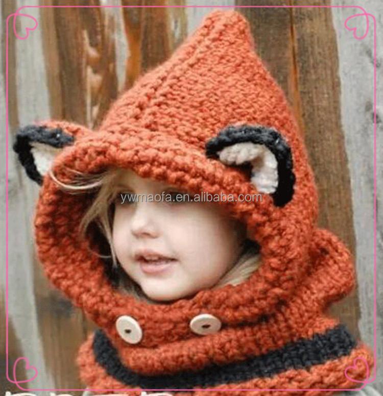 Kids Fox Hoodie Hat Crochet Fox Cowl Animal Hat Knitted Hooded